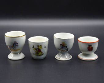 Four Children's Egg Cups, Vintage Egg Cups, Easter Breakfast, Instant Collection of Egg Cups