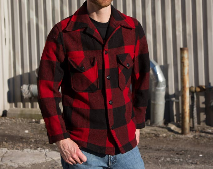 Buffalo Plaid Button Jacket / Vintage 1950's Wool Canadian Coat / Large Red and Black Checkered Lumberjack Cabin Fever Outdoor Overcoat