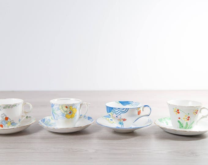 Vintage Teacups - Set of 4 Tea Cups and Saucers with Floral Pattern - Hand Painted Flowers Bone China - Colclough, Royal Doulton, Heathcote