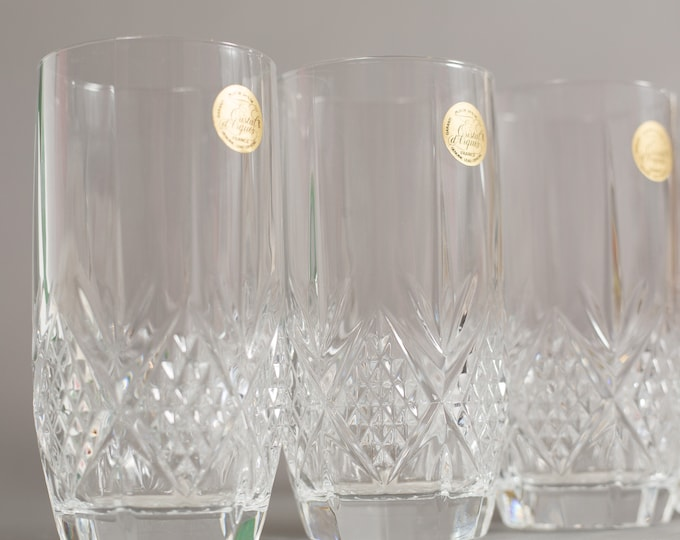 Vintage Crystal Glasses - French Crystal Cocktail Highball Glassware Set of 4 Drinking Glasses with Etched Diamond Cut Pattern