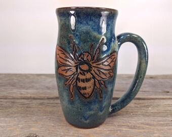 Bee Mug - Large Coffee Mug -16 oz - Honeybee mug - Beekeeper - queen bee - nature lover gift - Statement Mug - mesiree ceramics