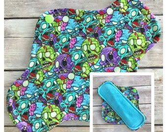 "9"" Flannel Zombies Cloth Menstrual Pad - Mama Cloth. Brains  OOAK"