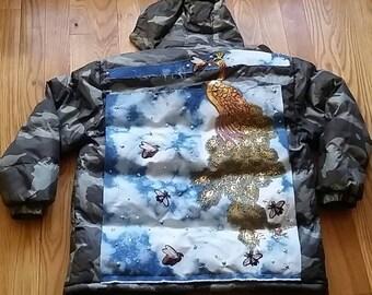 Customized camouflage puffer coat, size XL