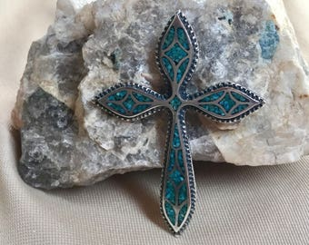 Large Southwest design cross in Sterling silver and turquoise, old pawn, Native American,