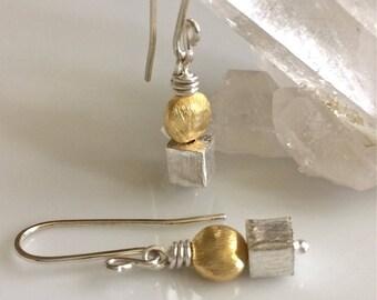 Mixed Metal Earrings   Geometric Earrings   Petite Earrings   Silver and Gold   Short Dangle Earrings