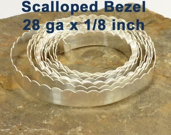 "28ga x 1/8"" Scalloped Bezel Wire - Fine Silver - Choose Your Length"