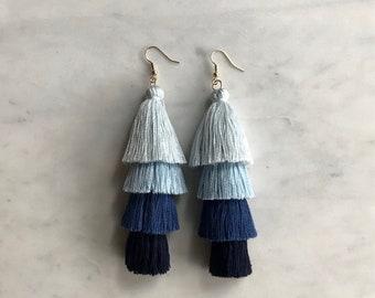 Four Tiered Blue Ombre Tassel Earrings