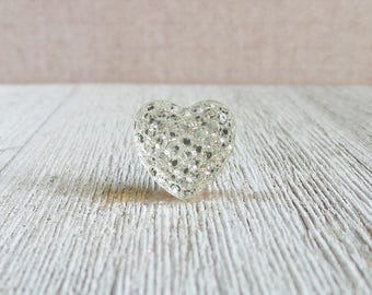 Clear Heart - Sparkle Heart - Love - Valentine's Day - Anniversary - Good Luck Charm - Wedding - Lapel Pin