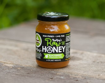 Raw Honey - Blackberry (6 oz): Blackberry-flavored, pure honey from Bee Kings
