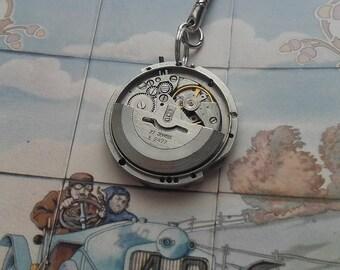 beautiful vintage watch movement mounted keychain