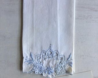 Vintage White With Blue Trim Guest Hand Towel
