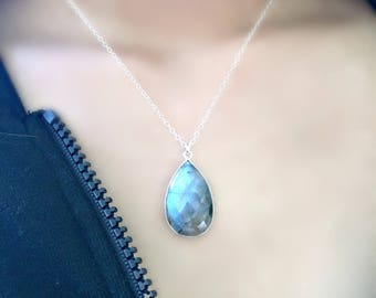 925 sterling silver labradorite jewelry labradorite necklace labradorite teardrop necklace labradorite pendant boho chic beach wedding gift