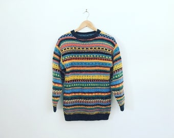 Multicoloured Stripe Hand Knitted Rainbow Vintage Sweater Hand Knit Jumper Natural Fibres Soft Fluffy Pullover Multicolour Small