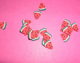 20 1/4 red fimo watermelon slices