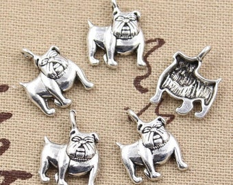 X 2 silver Bulldog Tibetan 17mm