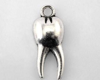 Silver 3D tooth 2 X 15mm Tibetan