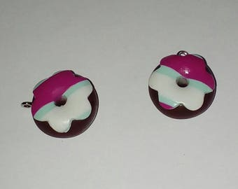 X 1 black grout choco Donut fuchsia/white/blue fimo