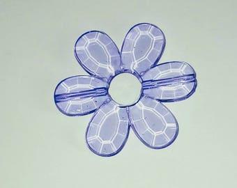 Large 1 X Pearl translucent mauve flower 33mm