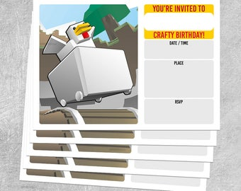 5 x BIRTHDAY INVITATIONS - Chicken Cart - Minecraft themed