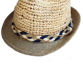Navy, camel and ivory straw hat