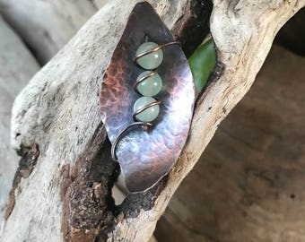 Hammered Copper Leaf with Stones