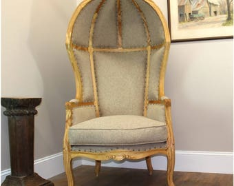 Antique Beige Dome Porters Chair w Natural Finish, French Balloon Bonnet Canopy