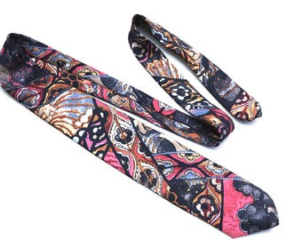 Vintage Abstract Print Tie,Benjamin Harris New York,Polyester Tie,Black Grey and Pink Necktie,Pop Art Tie,Unisex Accessories,Lightweight Tie