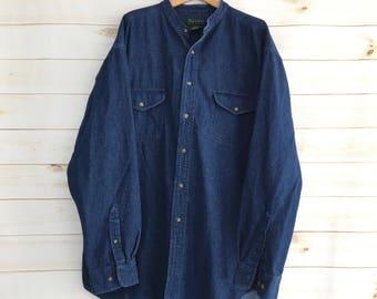 Vintage 90's Dark Wash Denim Button Down Long Sleeve Chore Shirt Mens XL Tall