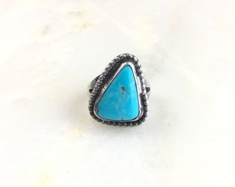 Vintage Sterling Navajo Turquoise Ring Size 9