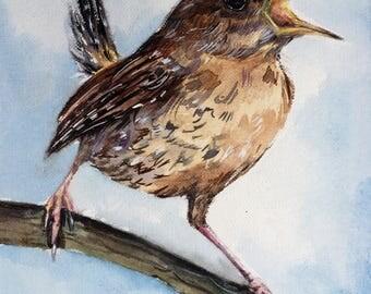 Winter Wren on the branch, little bird, song bird, bird on the branch, Mix Media Acrylic+Watercolor painting, original art
