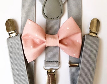 FREE DOMESTIC SHIPPING! Light gray suspenders  + blush polka dot Bow tie toddler kids boy boys Adult holidays photos family photoshoot