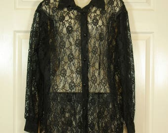 Sheer Black Lace Oversized Blouse Button Front Goth Poet Blouse 90s Maggie Lawrence M - L