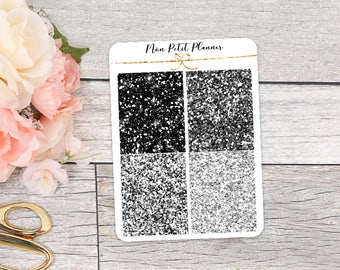 All Black Glitter Headers    Personal Size Functional Planner Stickers