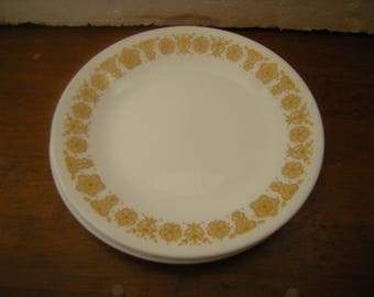 5 pieces butterfly gold corelle-4 butter plates-1 dinner plate-home and living-kitchen and dining-replacement-nostalgia-
