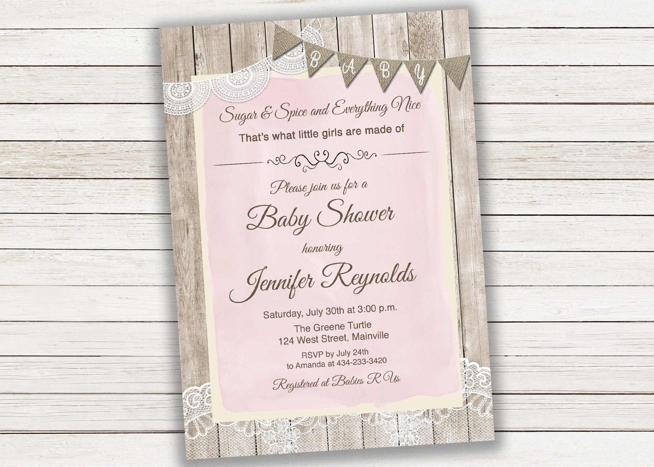 Sugar and Spice, Baby Girl, Girl, Burlap, Lace, Wood, Rustic, Baby ...