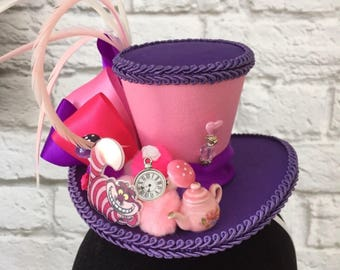 Custom order for Iliana- Cheshire Cat Mini Top Hat, Mad Hatter Top Hat, Alice In Wonderland Top Hat, Tea Party Mini Top Hat.