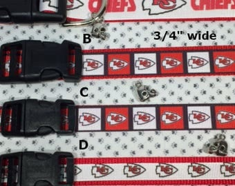 Kansas City Chiefs Inspired Football Adjustable dog or cat collar with HELMET charm LEASH Available