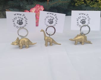 Dinosaur place card holder and wedding favour key rings in one X 50 dinosaurs