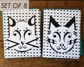 Set of 8 MUSIC NOTE greeting cards / CAT music note cards / Music gift / Music teacher gift / Band director gift / Music stationery