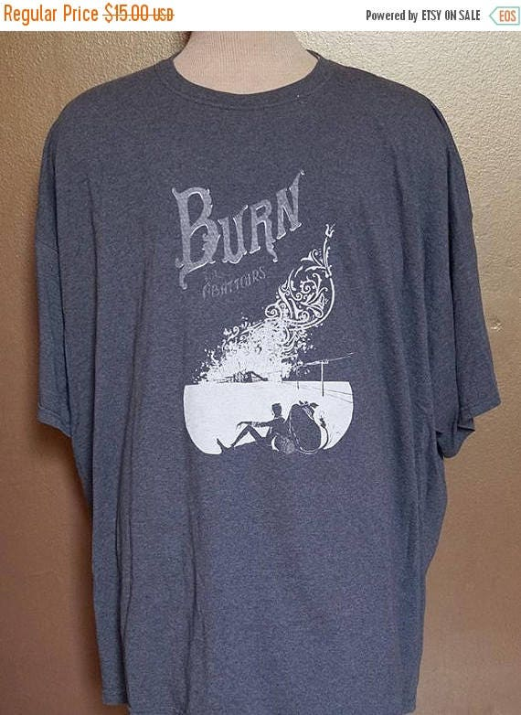 "ON SALE 4XL ""Burn the Abattoirs"" Tee, White Ink on Gray"
