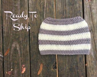 Messy Bun Beanie - Ready To Ship - Gray and Ivory  - Crochet Messy Bun Beanie -  Messy Bun Crochet Bun Hat - Ponytail Beanie