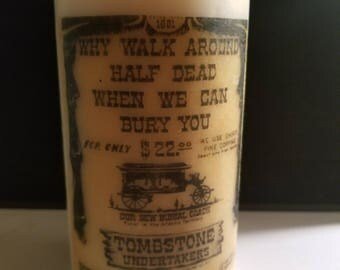 5 and a half inch Unique Graveyard Decorative  Image Candle