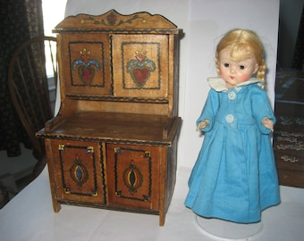 Vintage doll cupboard or hutch from Eastern Europe - handmade and hand painted