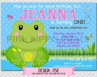 Froggy Girl, Frog, Pond:Design #058-Children's Birthday Invitation, Personalized, Digital, Printable, 4x6 or 5x7 JPG