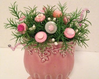 Vintage  Button Bokay/Shades of Pink-Vintage Shabby Cottage Chic Home Decor