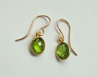 Peridot earrings, Gold peridot earrings, Peridot jewellery, Peridot jewelry, Green stone earrings, Bridal earrings