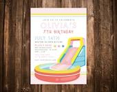 Water Slide Birthday Invitation; Splash Birthday Invitation; Swim Birthday Invitation; Water Birthday Invitation; Summer Birthday Invitation