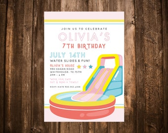 Water Slide Birthday Invitation; Summer; Pool Party; Printable or set of 10
