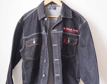 Vintage US Polo black denim jacket - 90's