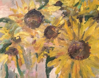 sunflowers, original art. yellow, summer , upbeat